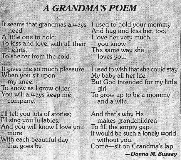 scan of Grandma's Poem by Donna M. Bussey