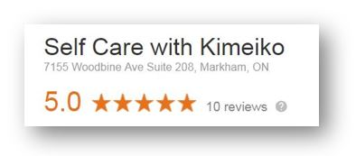 Self Care with Kimeiko - 5 star reviews on Google (screen capture)